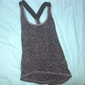 black and grey athletic tank top